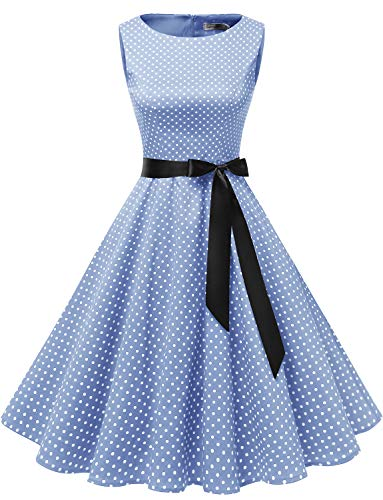 Gardenwed Damen 1950er Vintage Cocktailkleid Rockabilly Retro Schwingen Kleid Faltenrock Blue Small White Dot 3XL