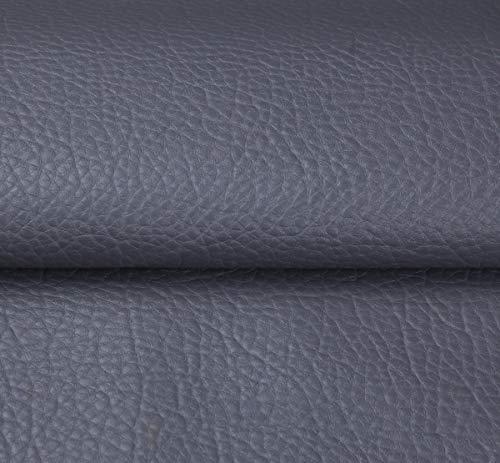 MAGFYLY lederen stof roll Kunstleer Vinyl Stof Gegreineerd Faux Lederen Stof Vinyl Sheet Litchi Premium Lederen Effen Kleuren Canvas Terug Verkocht Per Meter Per 1 Meter X 138cm (Kleur: Grijs)