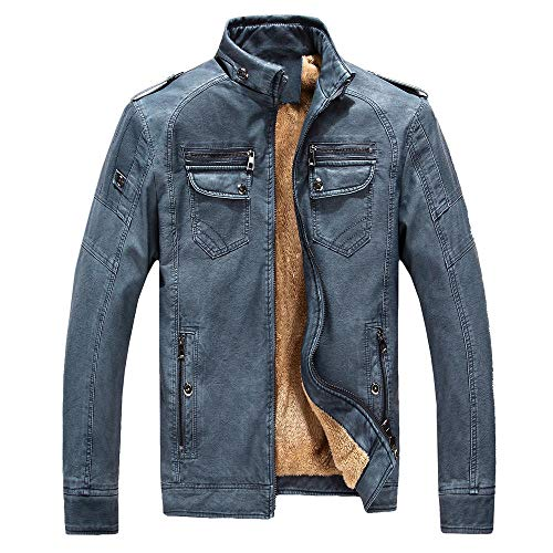 Jacket Coat Men Tailcoat Jacket Overcoat Outwear Tops for Winter Autumn Casual plus velvet thick men-denim blue_4XL
