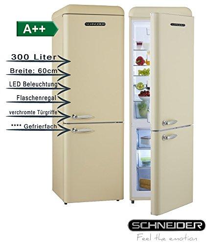 Schneider SL300C CB a + + Retro Diseño nevera y congelador Combinación Crema Mate, eficiencia energética: A + + 60cm de ancho, 300L 4* * * * Congelador 190cm de altura nevera/congelador