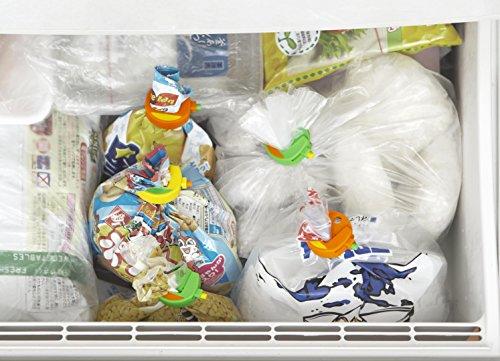 ミスフランシスのクリップ普通袋用3個入。商品袋のまま止めるだけ無駄を省けるゴミ減量。乾燥や湿気、汁もニオイも漏らさないスグレモノ。精密機器用ポリオキシンメチレン素材マグネット付ステンレス製スプリング高密閉性冷凍湯煎OK!開閉は簡単楽のワンタッチ!耐久性強い!