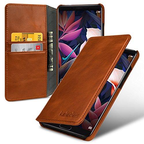 Huawei Mate 10 Hülle aus Echtem Leder,Brieftasche Flip Case mit Karten-Fächern, Cognac Braun