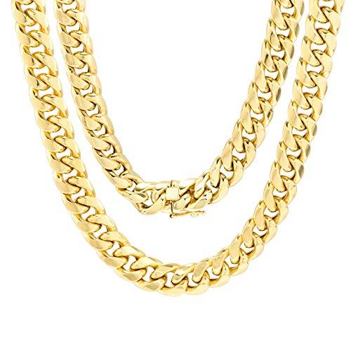 Nuragold collar de oro amarillo 14k 9mm masculino hueco miami cuban link cadena pendiente, 20'- 30'