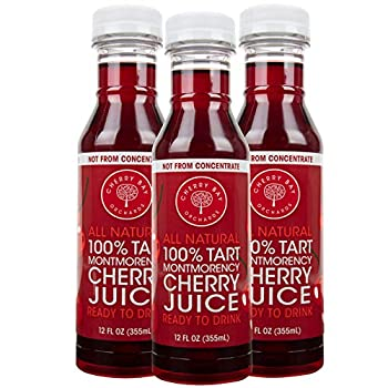 Cherry Bay Orchards Montmorency Tart Cherry Juice -  3 pack - 12oz Bottles  - 100% Domestic All Natural Ingredients No Added Sugar Gluten-Free GMO Free - 100% Vegetarian and Vegan