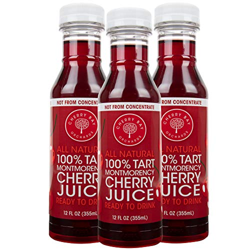 Cherry Bay Orchards Montmorency Tart Cherry Juice - (3 pack - 12oz Bottles) - 100% Domestic, All Natural Ingredients, No Added Sugar, Gluten-Free, GMO Free - 100% Vegetarian and Vegan