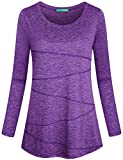 Kimmery Gym for Women Shirts, Fall Ladies Fashion Neck Modest Workout Tunic for Lounging Active Line Loose Fit Flowy Bottom Breathable Long Sleeve Running Cycling Athletic T Shirt Purple Large