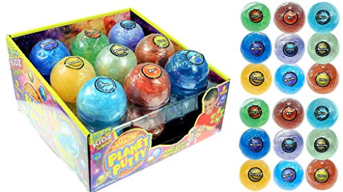 Planet Putty Galaxy Solar System Stress Slime (Pack of 18 Planet Assorted) by JA-RU. Metallic Colors Science Game Party Favors Toys for Girls & Boys. 5459-18p