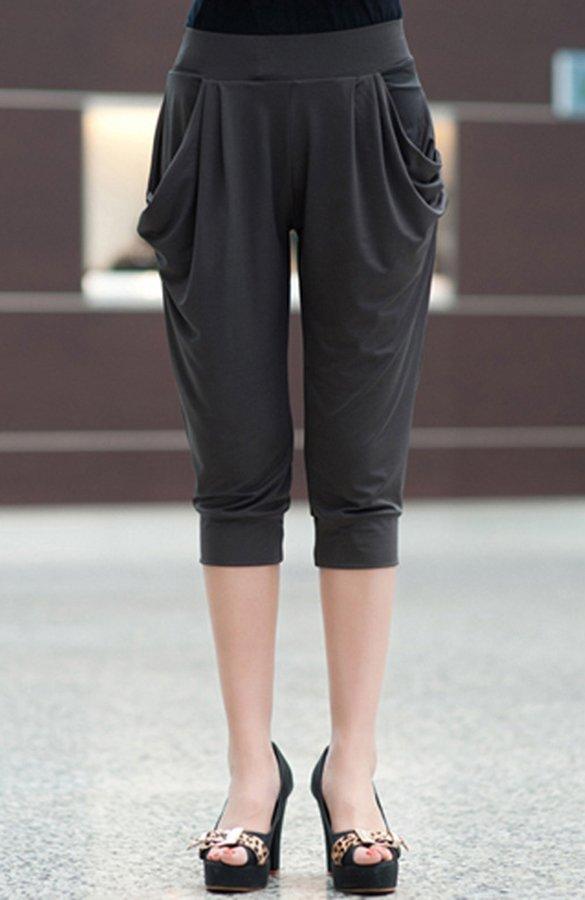 FABEILAI 2018春季新款欧美时尚大码七分裤胖MM牛奶丝纯色弹力显瘦收脚哈伦裤2008