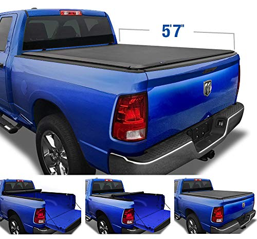 "Tyger Auto T1 Soft Roll Up Truck Bed Tonneau Cover for 2009-2018 Dodge Ram 1500; 2019-2020 1500 Classic; Fleetside 5'7"" Bed without RamBox; TG-BC1D9018"