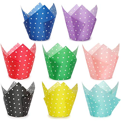 HULISEN 200 Pcs Tulip Cupcake Liners, 8 Colors Polka Dot Baking Cups, Premium Greaseproof Paper, Muffin Liners for Wedding, Baby Showers, Party, Standard Size- Bottom Diameter 2 inch, Gift Package