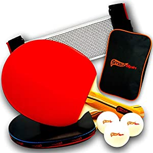 SmashSpin - Juego de raquetas de tenis de mesa con red, pelotas de tenis de mesa y bolsa para ping pong