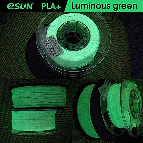 eSUN PLA+ Filament 1.75mm, Glow in the Dark Green, PLA Plus 3D Printer Filament, Dimensional Accuracy +/- 0.03mm, 1KG (2.2 LBS) Spool 3D Printing Filament for 3D Printers, Luminous Green