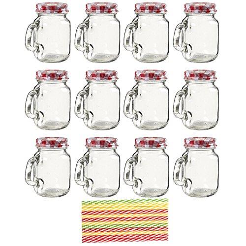 Baumwollmusselin Mason Gläser–Mason Glas Set mit dekorativer Mini klar Deckel und Kunststoff Trinkhalme, Glas, verschiedene Farben, 8.8x 7x 5cm
