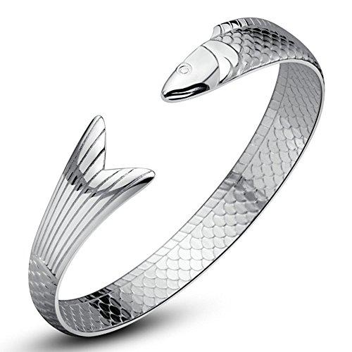 Onefeart Sterling Silber Armreif Für Damen Armband Für Mädchen Fisch Form 10x55MM Chinesischer Nationalstil
