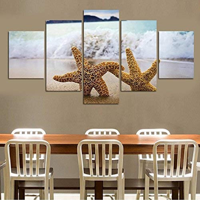 echa un vistazo a los más baratos BAIF 5 Piezas Lienzo de Pintura Lienzo Lienzo Lienzo Moderno Marco de la Pintura HD d Arte de la Parojo Fotos 5 Piezas mar Criaturas Marinas Arena Jugara Cochetel habitación decoración del hogar  solo para ti