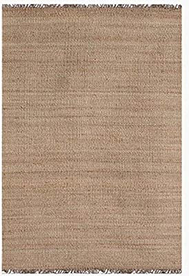 "Acura Rugs Natural Jute Area Rug, 9' x 13' Feet / 108""W x 156""L in Natural Color with Fringed Ends, Rectangle"