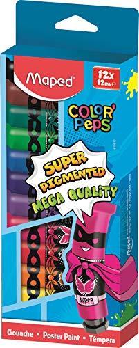 Maped - Peinture Gouache Enfant - 12 Couleurs Intenses Super Pigmentées - Facile à Ouvrir - Bouchon à Clapet Imperdable - Boîte Carton de 12 Tubes de 12 ml M810510