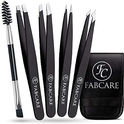 FABCARE Tweezers Set with case and eyebrow brush (5 pieces) - improved tip - eyebrow plucking tweezers - professional eyebrow tweezers with non-slip coating - plucking tweezers for hair removal
