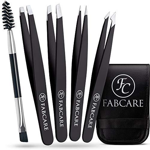FABCARE Set de pinzas de depilar para las cejas con cepillo (de cinco piezas) - Punta mejorada - Pinzas de depilación para cejas - Pinzas cejas professional