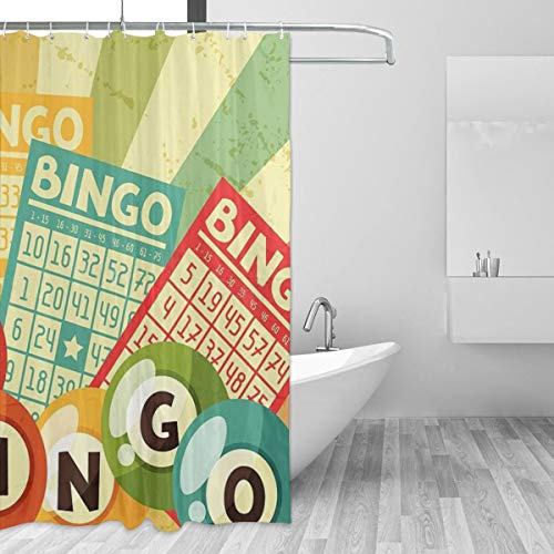 Yiaoflying Shower Curtain Bingo Or Lottery Retro Game Balls Fabric Waterproof Bath Curtain Set for Home Hotel Shower Bathroom Accessories Decor 60x72inch,12 Hooks,Best Gifts
