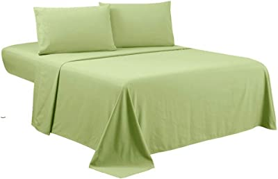 Bedding Castle,, 800 Thread Count Luxury Egyptian Cotton 4pc Sheet Set-Stain Wrinkle Fade Resistant, 13 inch Deep Pocket Bedding Set (King, Sage Green)