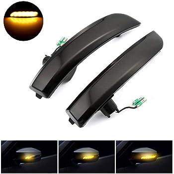 Akozon Espejo retrovisor Luz de giro Indicador LED de luz de espejo retrovisor intermitente Para Focus 2008-2016 Focus MK2 MK3 2008-2018 Mondeo MK4 2011-2015 Un par