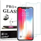 wonbu 2 Unidades, Cristal Templado para iPhone X, iPhone XS, iPhone 11 Pro, Antiarañazos, 9H, 0.33 mm Antihuellas, Protector de Pantalla Ultra Resistente