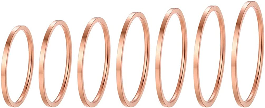 Stainless 35% OFF Ranking TOP5 Steel Rings Set Women's Knuckle M Plain Stacking Band