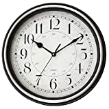Tosnail 12 Inches Round Silent Non Ticking Quartz Wall Clock - Espresso and Silver Frame