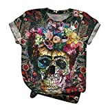 Dosoop 3D Skull Flower Print T-Shirt for Womens Summer Casual Loose Short Sleeve Tunic Tops Blouse Tee Shirt Plus Size