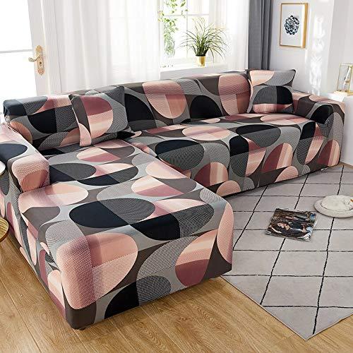 WXQY Funda de sofá de Esquina con patrón de Lino, Utilizada para la Funda de sofá de la Sala de Estar, sofá elástico con Todo Incluido, sillón Chaise Longue A11 de 4 plazas