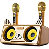Portable Kitty Cat Karaoke Machine for Kids & Adults: Best Birthday & Holiday Gift Indoor, Outdoor Bluetooth Speakers, 2 Wireless Microphones, Tablet Holder, PA System & Karaoke Song (Spinto, G3 Gold)