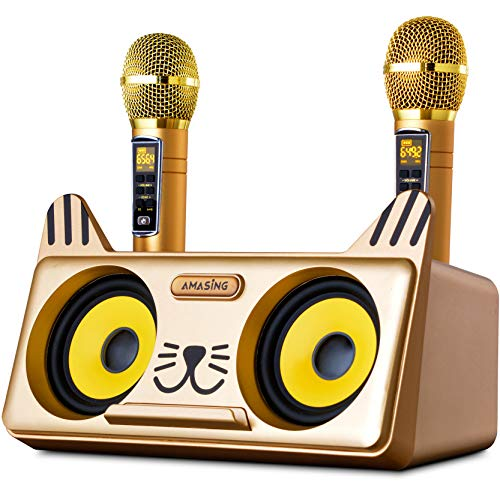 Portable Kitty Cat Karaoke Machine for Kids & Adults: Best Birthday & Holiday Gift w/ Indoor, Outdoor Bluetooth Speakers, 2 Wireless Microphones, Tablet Holder, PA System & Karaoke Song - Spinto G3