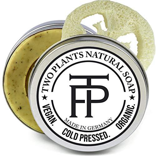 [SET] Green Balsam Akne Gesichts-Seife gegen Pickel | Wirksame Reinigung für unreine Haut | NATURE & NOTHING ELSE - 100% natürlich | Gratis Seifenbox + Seifenablage | von Two Plants