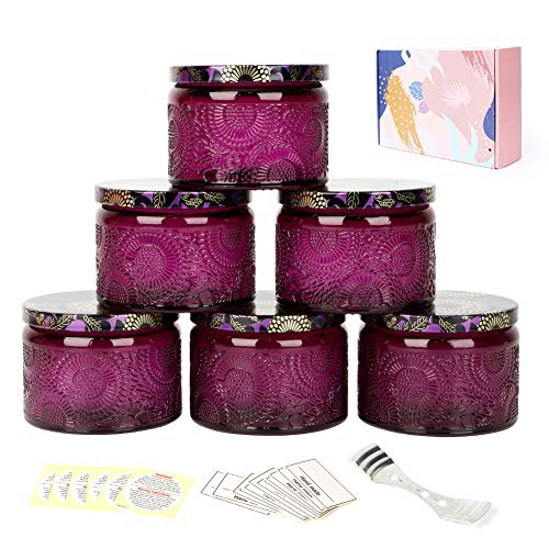 ZGoEC Embossed Glass Candle Jars, 6 Pack Round Glass Candle Container with Lid for DIY Candle Making,4.2 oz, Purple