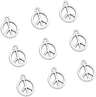 100pcs Vintage Antique Silver Alloy Peace Symbol Charms Pendant Jewelry Findings for Jewelry Making Necklace Bracelet DIY 15x12mm(100pcs Silver Peace)