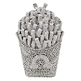 Sparkling Crystal French Fries Chips Minaudiere Clutch Women Evening Bags Wedding Party Handbags and Purses (Silver)