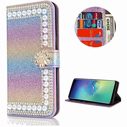 Miagon Hülle Glitzer für Samsung Galaxy S20,Diamant Strass Perle Blume PU Leder Handyhülle Ständer Funktion Schutzhülle Brieftasche Cover,Regenbogen Blau