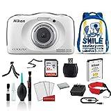 Nikon COOLPIX W100 Waterproof Rugged Digital Camera White Kid-Friendly - Bundle with BlueBackpack + 32GB Sandisk Memory Card + More