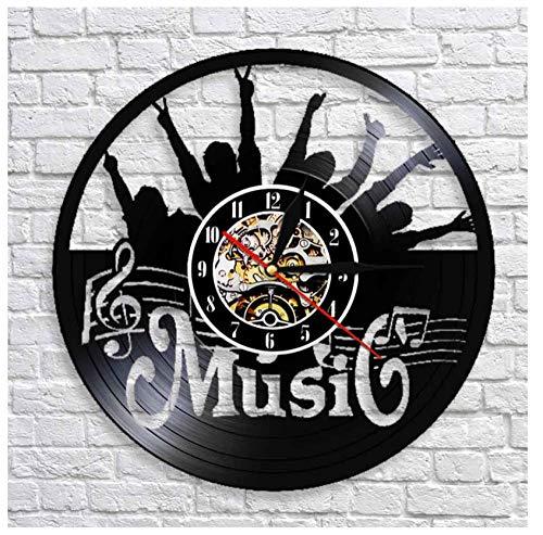 WSDSYZD LED bateria Pon tu Mano Música Rock N Roll Vinyl Record Reloj de Pared Colgante Moderno Reloj silencioso Decoración para el hogar Rock Music Lover Gift
