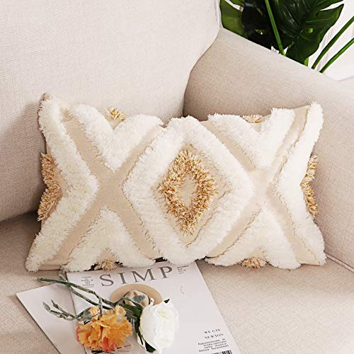Sungea Geometric Throw Pillow Cover, Boho Modern Tribal Gold and White Diamond Tufted Couch Cushion Case for Bedroom Living Room Sofa Wedding Decoration(12 x 20 inch)