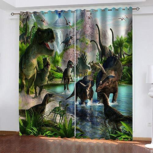 SXCQIANGTIE Verdunkelungsvorhänge, 3D-Digitaldruckvorhänge für Dinosaurier, Vorhänge für Wohnkultur (2 Paneele), 65 Zoll lang und 59 Zoll breit