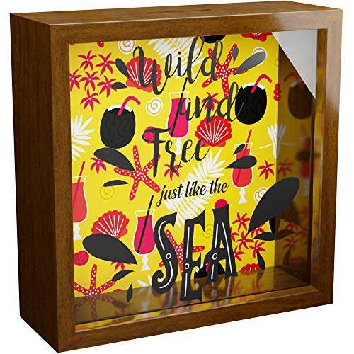 Beach Gifts   6x6x2 Wooden Shadow Box with Glass Front   Sea Lovers Themed Keepsake Frames   Great Beach Decorations for Home   Ocean Theme Wall Decor Frames