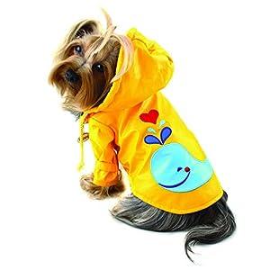 Klippo Dog/Puppy Splashing Whale Waterproof Jacket/Raincoat/Rain Gear/Rainwear with Cotton Lining for Small Breeds