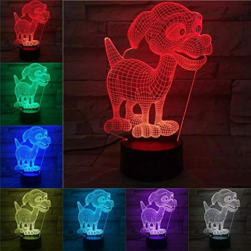 Little Dog 3D Lamp Children's Night Light LED Bulb Multicolor Flash Fade Battery Lampara Bedside Christmas Gifts for Kid Toy
