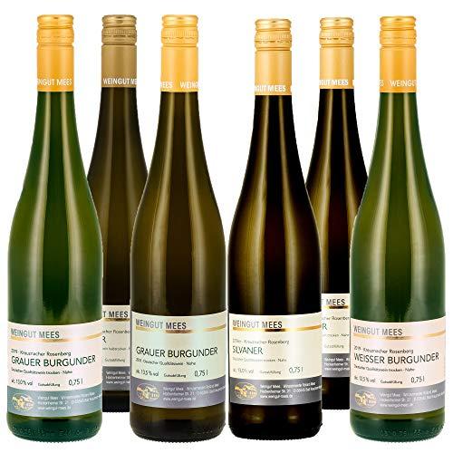 Weingut Mees WEISSWEIN SÄUREARM MILDE SÄURE TROCKEN HALBTROCKEN Weißwein Wein Deutschland Nahe Paket (6 x 750 ml)