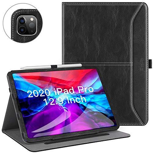 Ztotop Hülle für Neu iPad Pro 12.9 Inch 2020(4. Generation),Premium Leder mit Ständer,Kartensteckplatz,Auto Schlaf/Aufwach Funktion,Mehrfachwinkel für iPad Pro 4. Generation,Schwarz