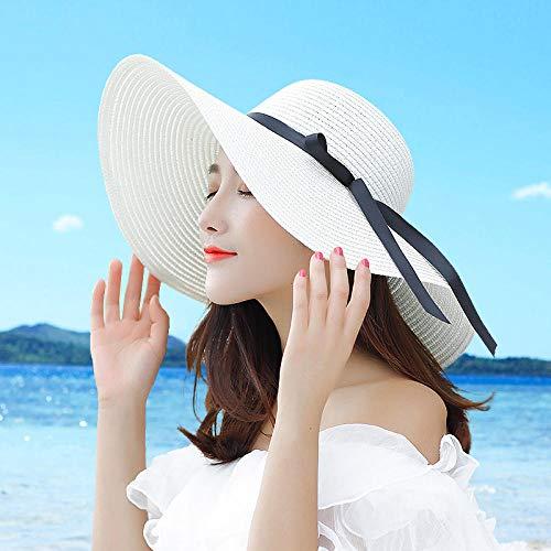 TIEDAN Sombrero de Pescador de Doble Cara Sombrero de Pescador Bordado Sombra de Hombres y Mujeres-Blanco lechoso_M (56-58 cm)