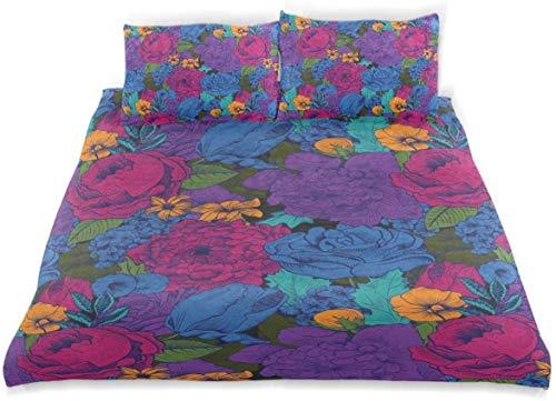 Conjunto de Funda nórdica Vintage exuberante Ramo Vibrante Shabby Chic Floraciones Exóticas Tonos Boho Belleza Imagen Decorativa Juego de Cama de 3 Piezas con 2 Fundas de Almohada