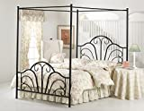 Hillsdale Furniture Dover Bed Set with Canopy and Legs, King, Textured Black
